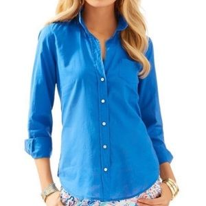 Lilly Pulitzer Blue Sea View Button Down Top Large